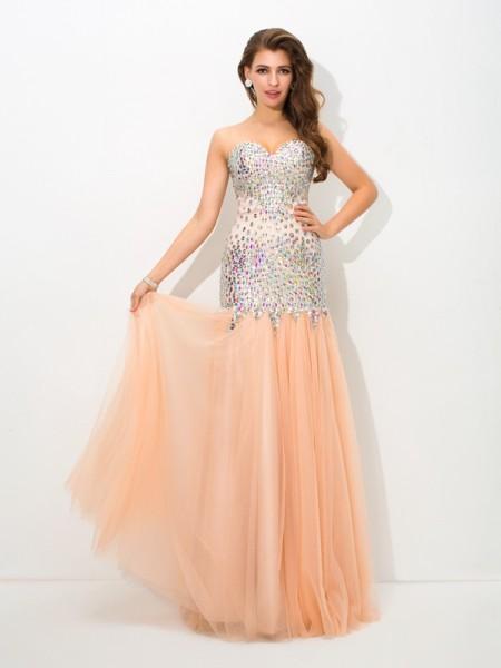 Trumpet/Mermaid Beading Floor-Length Sweetheart Sleeveless Net Dresses