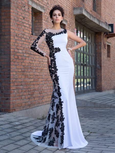 Trumpet/Mermaid Applique Sweep/Brush Train Scoop Long Sleeves Chiffon Dresses