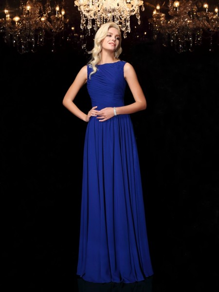 A-Line/Princess Rhinestone Floor-Length Bateau Sleeveless Chiffon Dresses
