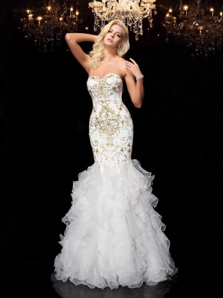 Trumpet/Mermaid Beading Floor-Length Sweetheart Sleeveless Organza Dresses