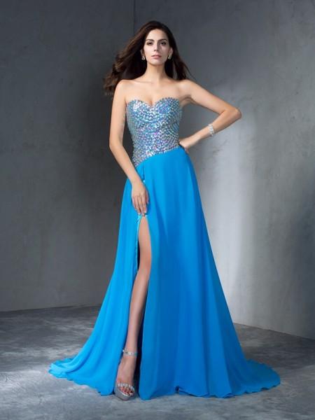 A-Line/Princess Sequin Sweep/Brush Train Sweetheart Sleeveless Chiffon Dresses