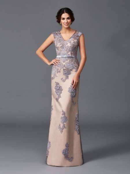 Sheath/Column Applique Floor-Length Straps Sleeveless Satin Dresses