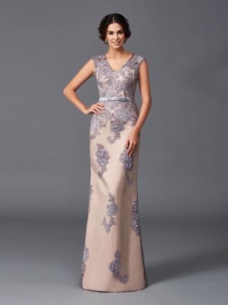 Sheath/Column Applique Floor-Length Straps Sleeveless Satin Dresses