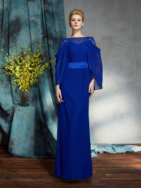 Sheath/Column Floor-Length Bateau Long Sleeves Chiffon Dresses