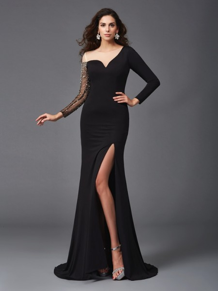 Sheath/Column Beading Sweep/Brush Train Scoop 3/4 Sleeves Spandex Dresses