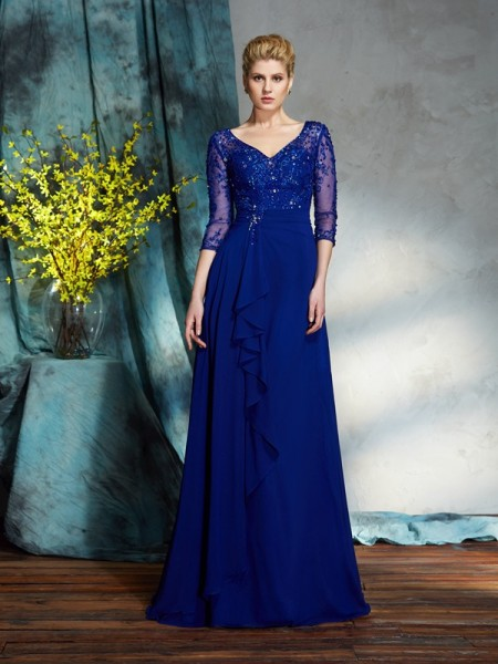 A-Line/Princess Sequin Floor-Length V-neck 3/4 Sleeves Chiffon Mother of the Bride Dresses