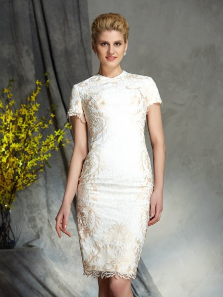 Sheath/Column Lace Short/Mini Jewel Short Sleeves Lace Mother of the Bride Dresses