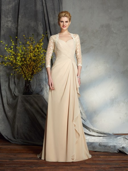 A-Line/Princess Lace Sweep/Brush Train Sweetheart 3/4 Sleeves Chiffon Mother of the Bride Dresses