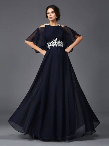 A-Line/Princess Applique Floor-Length Straps 1/2 Sleeves Chiffon Mother of the Bride Dresses