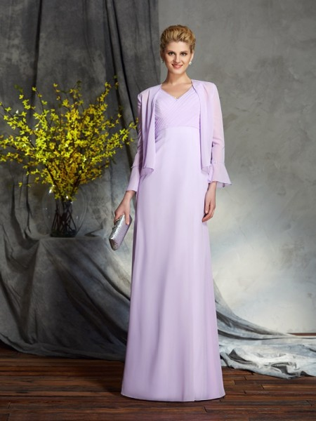 Sheath/Column Applique Floor-Length V-neck Sleeveless Chiffon Mother of the Bride Dresses