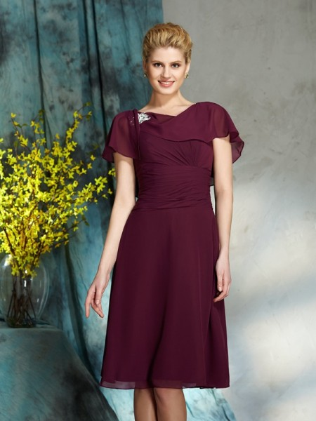 A-Line/Princess Knee-Length Scoop 1/2 Sleeves Chiffon Mother of the Bride Dresses