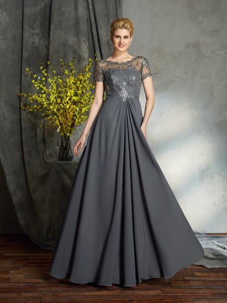 A-Line/Princess Applique Floor-Length Scoop Short Sleeves Chiffon Mother of the Bride Dresses