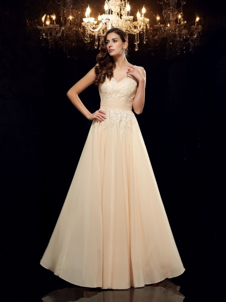 A-Line/Princess Applique Floor-Length Straps Sleeveless Chiffon Mother of the Bride Dresses