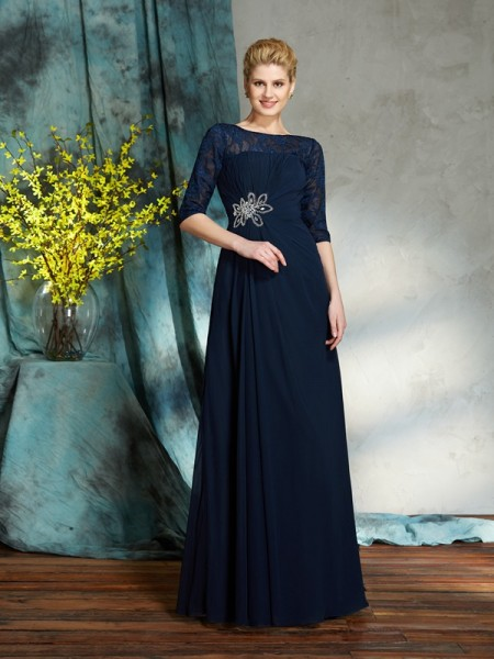 A-Line/Princess Beading Floor-Length Bateau 1/2 Sleeves Chiffon Mother of the Bride Dresses
