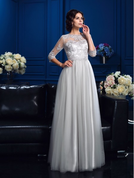 A-Line/Princess Applique Floor-Length Scoop 3/4 Sleeves Elastic Woven Satin Mother of the Bride Dresses