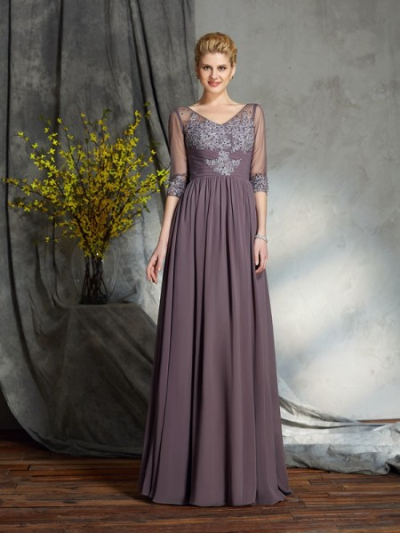A-Line/Princess Floor-Length V-neck 1/2 Sleeves Chiffon Mother of the Bride Dresses