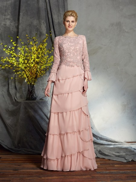 Sheath/Column Ruffles Floor-Length Scoop Long Sleeves Chiffon Mother of the Bride Dresses