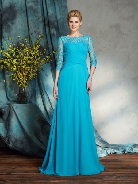 A-Line/Princess Applique Floor-Length Bateau 3/4 Sleeves Chiffon Mother of the Bride Dresses