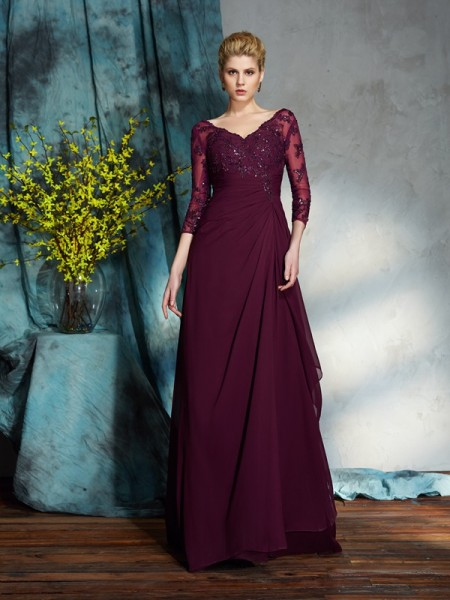 A-Line/Princess Beading Floor-Length V-neck 3/4 Sleeves Chiffon Mother of the Bride Dresses