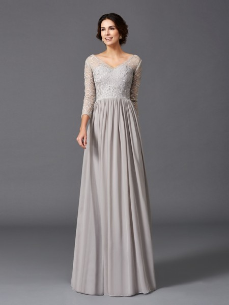 A-Line/Princess Ruffles Floor-Length V-neck 3/4 Sleeves Chiffon Mother of the Bride Dresses