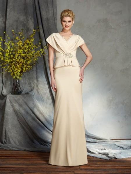 Sheath/Column Beading Floor-Length V-neck Short Sleeves Silk like Satin Mother of the Bride Dresses