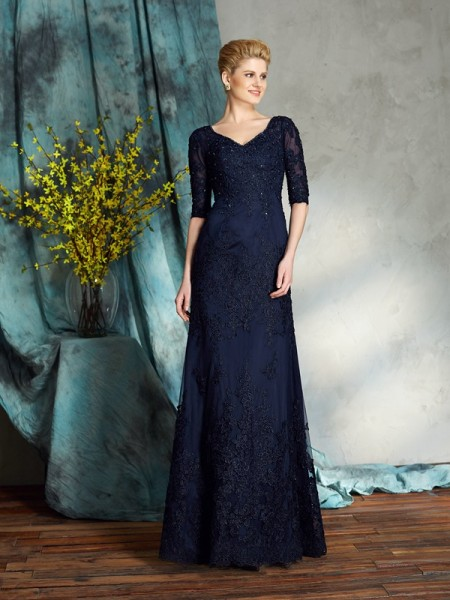 Sheath/Column Applique Floor-Length V-neck 1/2 Sleeves Satin Mother of the Bride Dresses