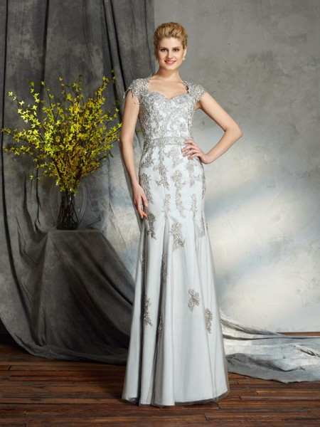 Sheath/Column Applique Floor-Length Sweetheart Sleeveless Satin Mother of the Bride Dresses