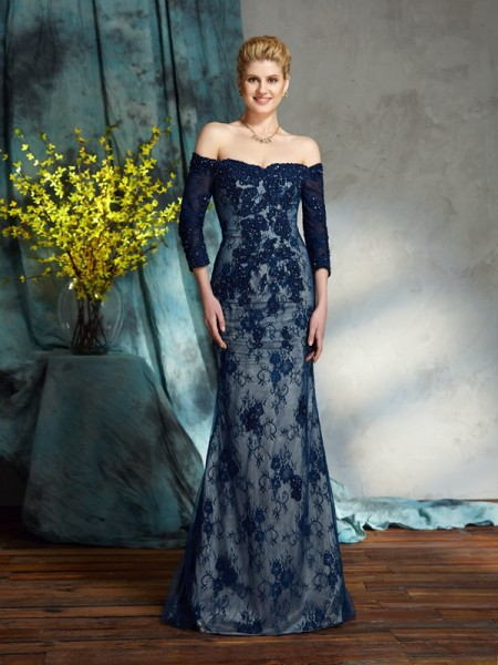 Trumpet/Mermaid Lace Floor-Length Off-the-Shoulder 3/4 Sleeves Lace Mother of the Bride Dresses
