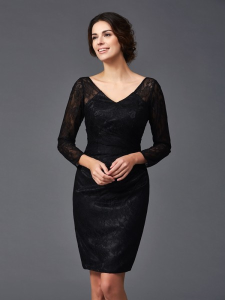 Sheath/Column Lace Knee-Length V-neck Long Sleeves Elastic Woven Satin Mother of the Bride Dresses