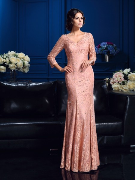 Sheath/Column Beading Floor-Length V-neck 3/4 Sleeves Lace Mother of the Bride Dresses