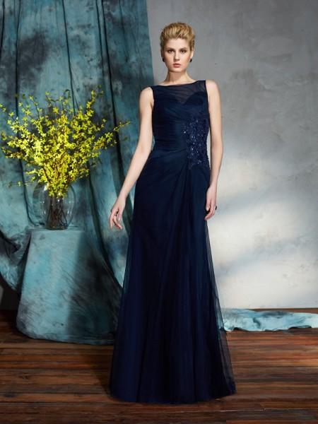 Sheath/Column Applique Floor-Length Bateau Sleeveless Net Mother of the Bride Dresses
