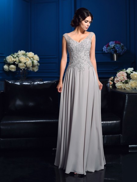 A-Line/Princess Beading Floor-Length V-neck Sleeveless Chiffon Mother of the Bride Dresses