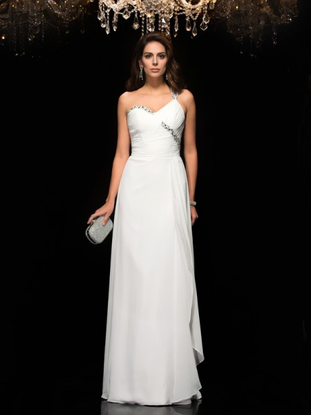 A-Line/Princess Beading Floor-Length One-Shoulder Sleeveless Chiffon Dresses