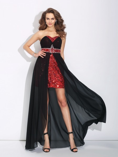 A-Line/Princess Sequin Asymmetrical Sweetheart Sleeveless Chiffon Dresses