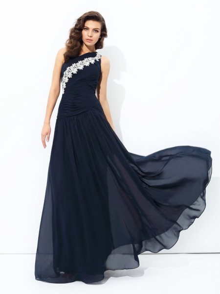 A-line/Princess Applique Floor-Length One-Shoulder Sleeveless Chiffon Dresses