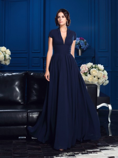 A-Line/Princess Applique Floor-Length V-neck Short Sleeves Chiffon Mother of the Bride Dresses