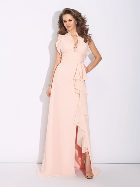 A-Line/Princess Ruffles Sweep/Brush Train High Neck Sleeveless Chiffon Dresses