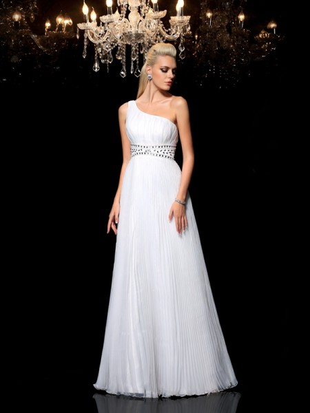 A-Line/Princess Beading Floor-Length One-Shoulder Sleeveless Organza Dresses