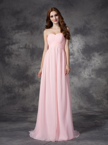 A-line/Princess Ruched Sweep/Brush Train Sweetheart Sleeveless Chiffon Dresses