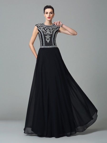 A-Line/Princess Beading Floor-Length Jewel Short Sleeves Chiffon Dresses