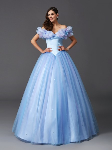 Ball Gown Beading Floor-Length Off-the-Shoulder Sleeveless Net Dresses