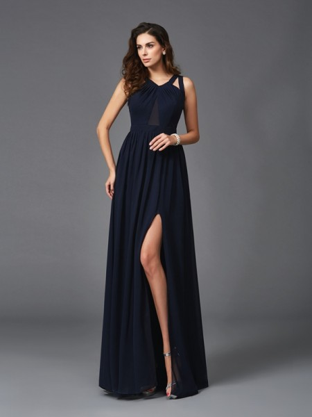 A-Line/Princess Floor-Length Straps Sleeveless Chiffon Dresses