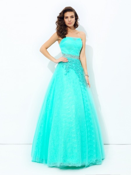 A-line/Princess Beading Floor-Length Strapless Sleeveless Elastic Woven Satin Dresses