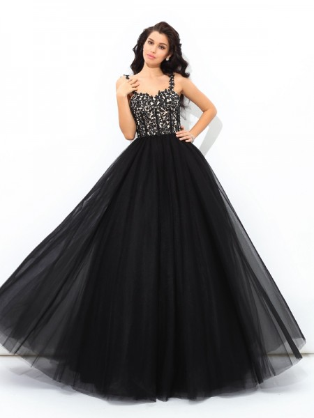 Ball Gown Applique Floor-Length Straps Sleeveless Net Quinceanera Dresses