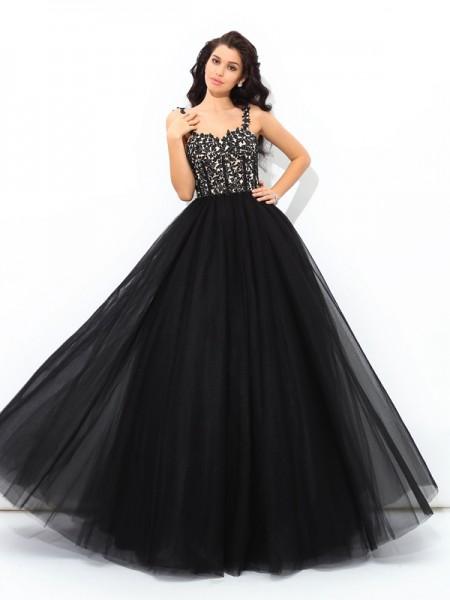 Ball Gown Applique Floor-Length Straps Sleeveless Net Quinceanera Dresses