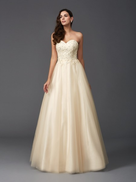 A-Line/Princess Beading Floor-Length Sweetheart Sleeveless Net Dresses
