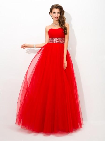Ball Gown Beading Floor-Length Strapless Sleeveless Net Dresses