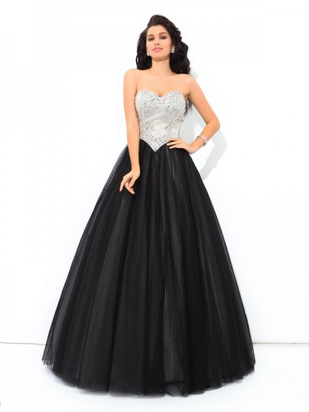 Ball Gown Paillette Floor-Length Sweetheart Sleeveless Net Quinceanera Dresses