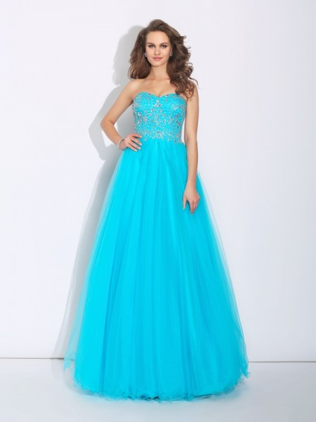 A-Line/Princess Rhinestone Floor-Length Sweetheart Sleeveless Satin Dresses