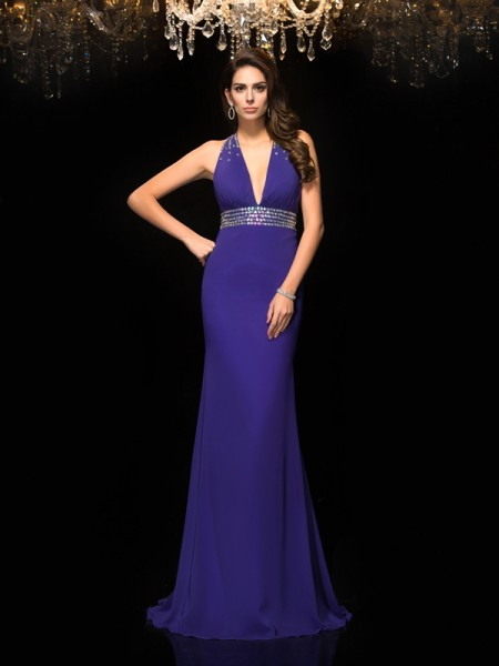 Trumpet/Mermaid Beading Sweep/Brush Train V-neck Sleeveless Chiffon Dresses